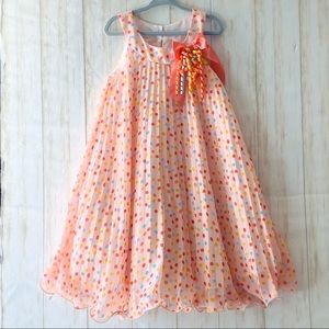 Bonnie Jean Pink pleated polka dot party dress 6